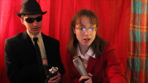 """Actor Joel Walley and director Meghan McDermott during the filming of """"Starr-Struck""""."""