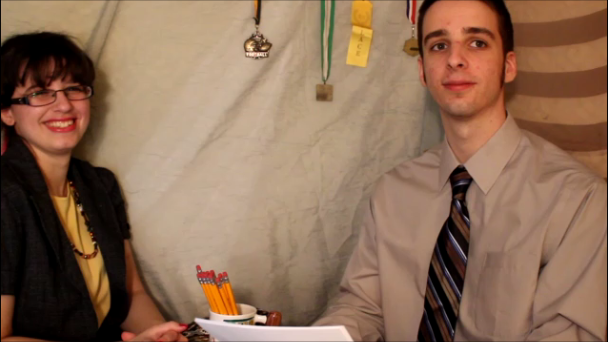 """Heather McDermott and William McDermott between takes at the filming of """"How (Not) to Interview""""."""