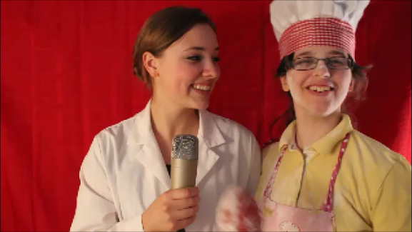 """Left: Brooke Noble. Right: Heather McDermott.  Filming """"From the Office of Cooking Experiments""""."""