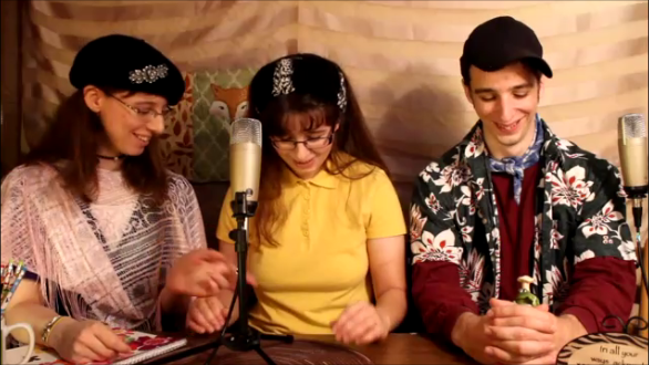 """Left to Right: Meghan, Heather, William. Filming our second-ever Maddy Podcast: """"Maddy and the Painter Art Critics""""."""