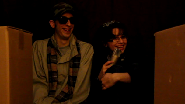 """William and Heather, filming one of our favorite and most popular videos: """"Outlaw Valentine's Day?""""."""